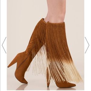 Curtain Call Pointy Fringe Boots knee high brown